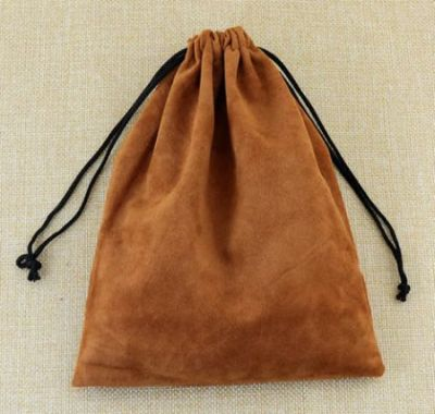 Coffee coloured 15 x 20cm draw bags in a soft velvet material